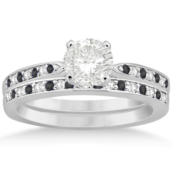 Black & White Diamond Engagement Ring Set Palladium (0.55ct)
