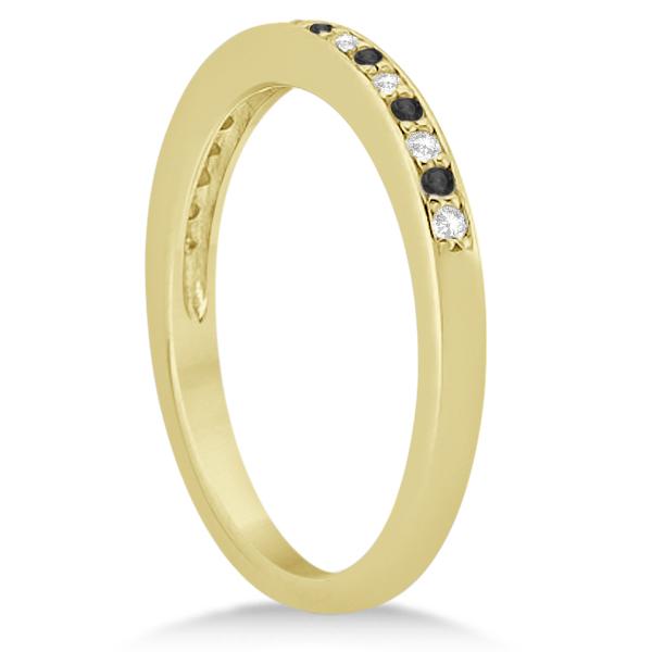 Black & White Diamond Wedding Band 18k Yellow Gold 0.29ct