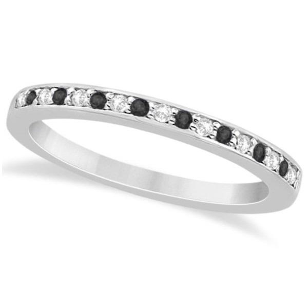 Black & White Diamond Wedding Band Palladium 0.29ct