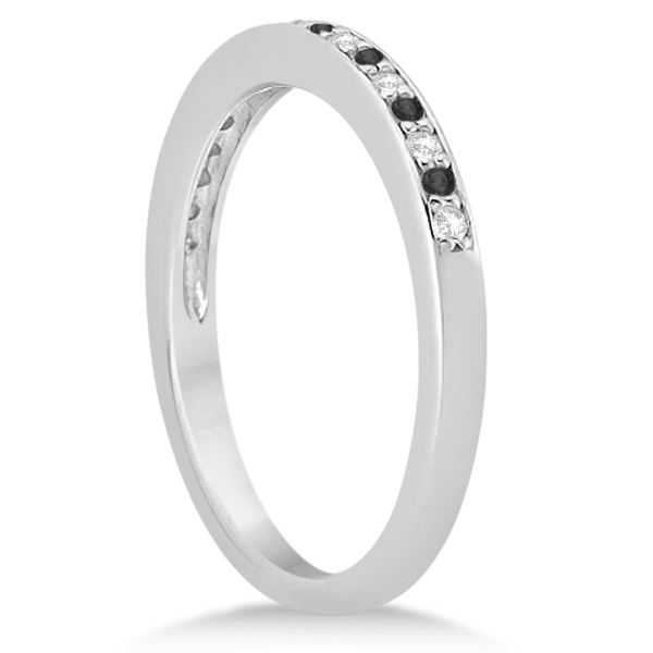 Black & White Diamond Wedding Band Platinum 0.29ct