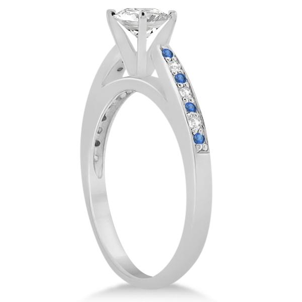 Blue Topaz & Diamond Engagement Ring 14k White Gold 0.26ct