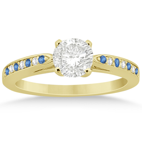 Blue Topaz & Diamond Engagement Ring 18k Yellow Gold 0.26ct