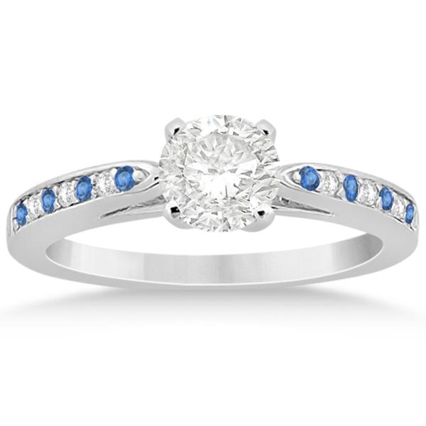 Blue Topaz & Diamond Engagement Ring Palladium 0.26ct