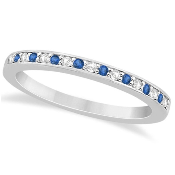 Blue Topaz & Diamond Wedding Band 18k White Gold 0.29ct