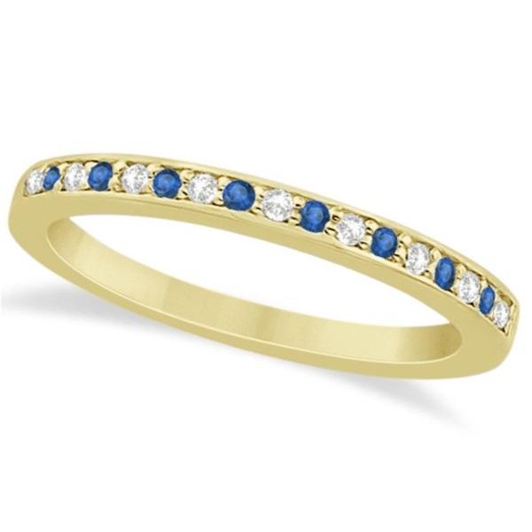 Blue Topaz & Diamond Wedding Band 18k Yellow Gold 0.29ct