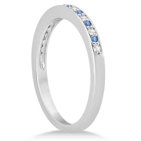 Blue Topaz & Diamond Wedding Band Palladium 0.29ct