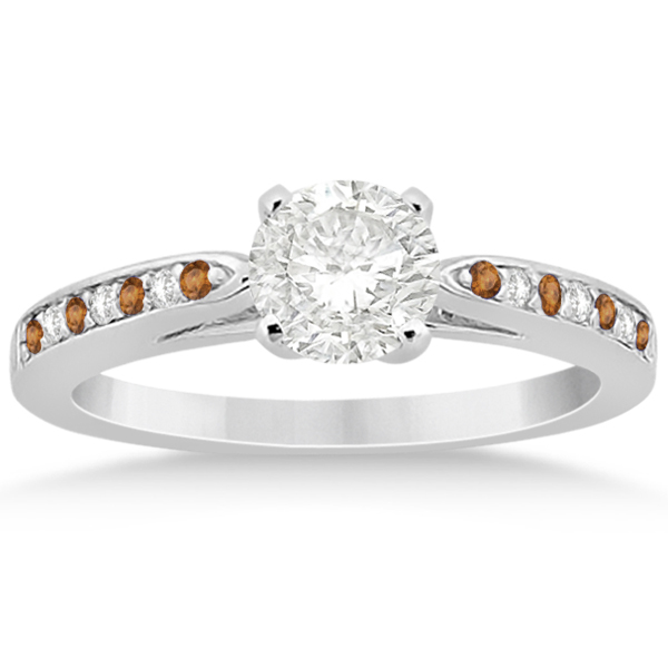 Citrine & Diamond Engagement Ring Palladium 0.26ct