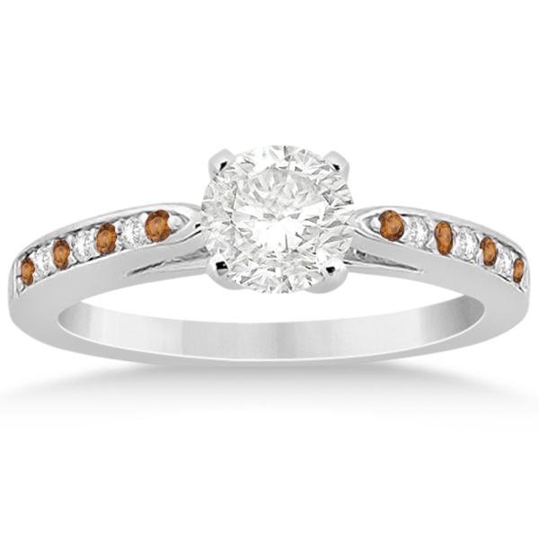 Citrine & Diamond Engagement Ring Platinum 0.26ct