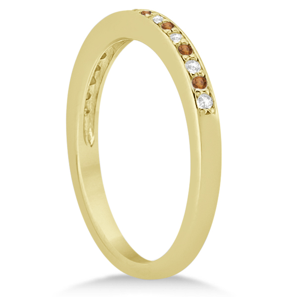 Citrine & Diamond Wedding Band 14k Yellow Gold 0.29ct
