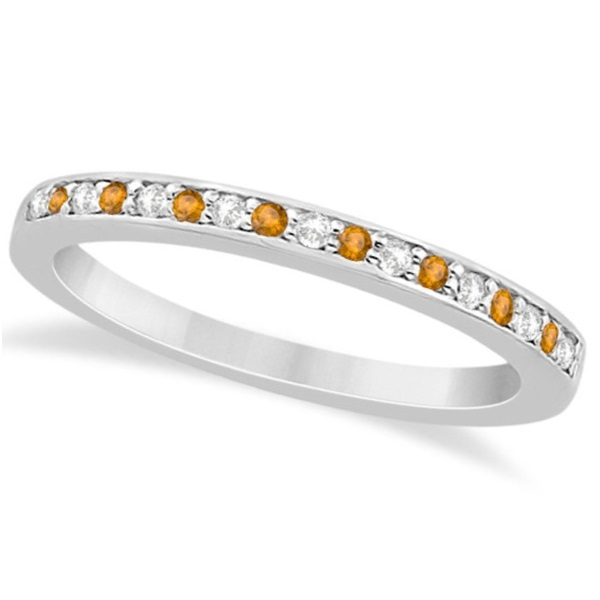 Citrine & Diamond Wedding Band 18k White Gold 0.29ct