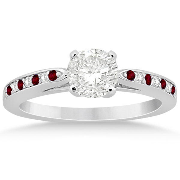 Garnet & Diamond Engagement Ring 14k White Gold 0.26ct