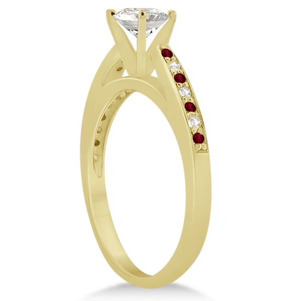 Garnet & Diamond Engagement Ring 14k Yellow Gold 0.26ct