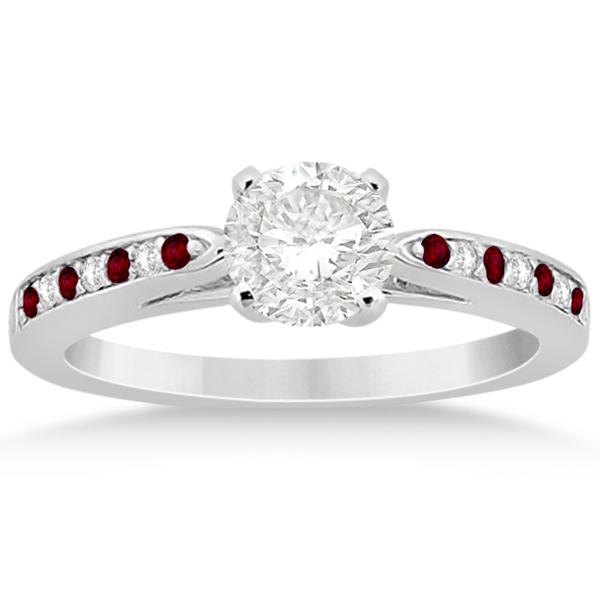 Garnet & Diamond Engagement Ring Set Palladium (0.55ct)