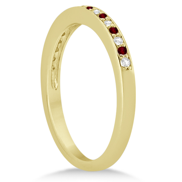 Garnet & Diamond Wedding Band 18k Yellow Gold 0.29ct