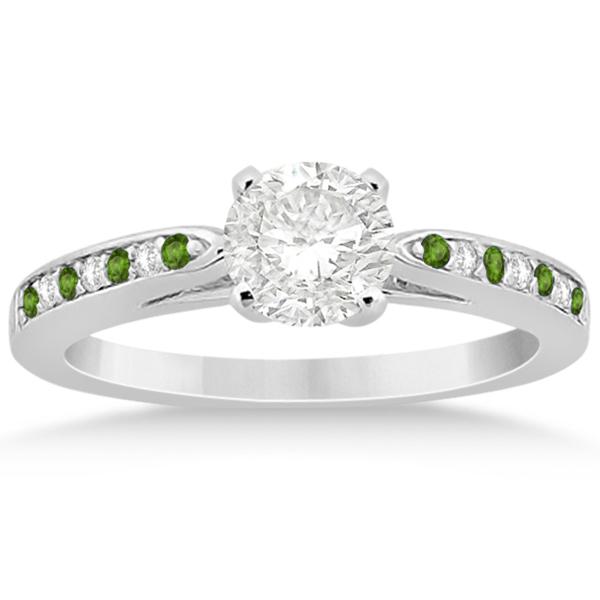 Peridot & Diamond Engagement Ring 18k White Gold 0.26ct