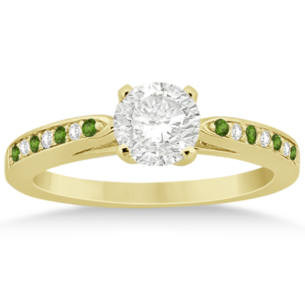 Peridot diamond engagement ring set 14k yellow gold 0 for Peridot wedding ring set
