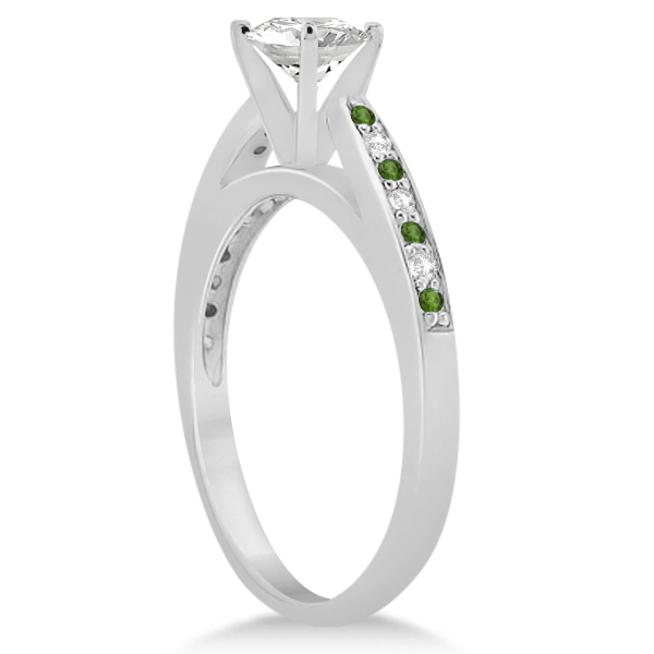 Peridot & Diamond Engagement Ring Set 18k White Gold (0.55ct)
