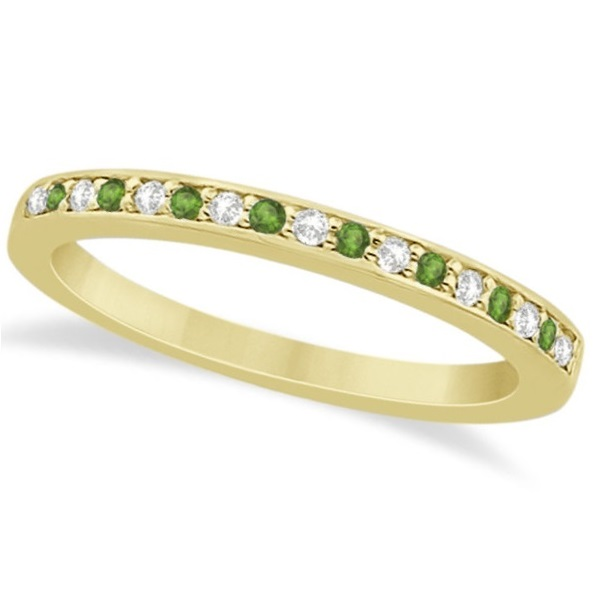 Peridot & Diamond Wedding Band 18k Yellow Gold 0.29ct