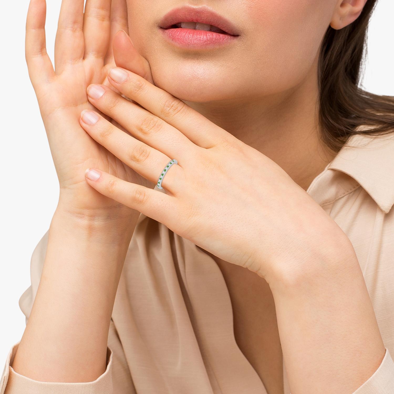 Peridot & Diamond Wedding Band Palladium 0.29ct