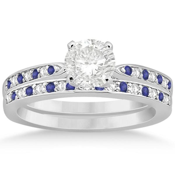 Tanzanite & Diamond Engagement Ring Set 18k White Gold 0 ...