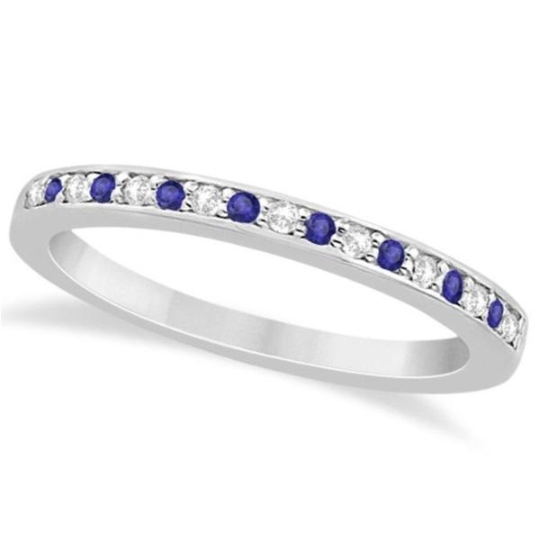 Tanzanite & Diamond Wedding Band 14k White Gold 0.29ct