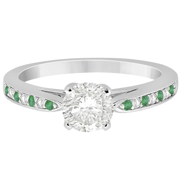 Cathedral Green Emerald Diamond Engagement Ring 14k White Gold 0.22ct