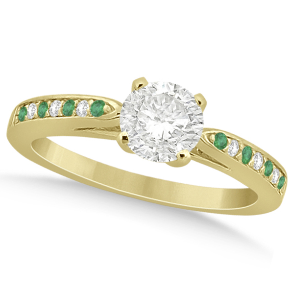 Cathedral Green Emerald Diamond Engagement Ring 18k Yellow Gold 0.22ct