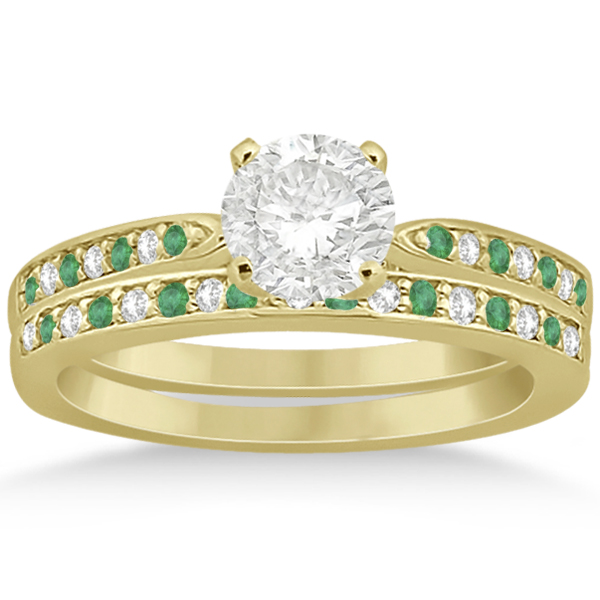 Diamond and Emerald Engagement Ring Set 14k Yellow Gold (0.47ct)