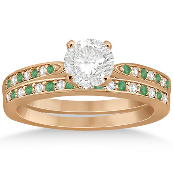 Diamond and Emerald Engagement Ring Set 18k Rose Gold (0.47ct)