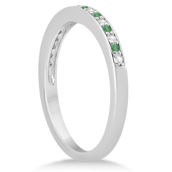 Diamond and Emerald Engagement Ring Set Platinum (0.47ct)