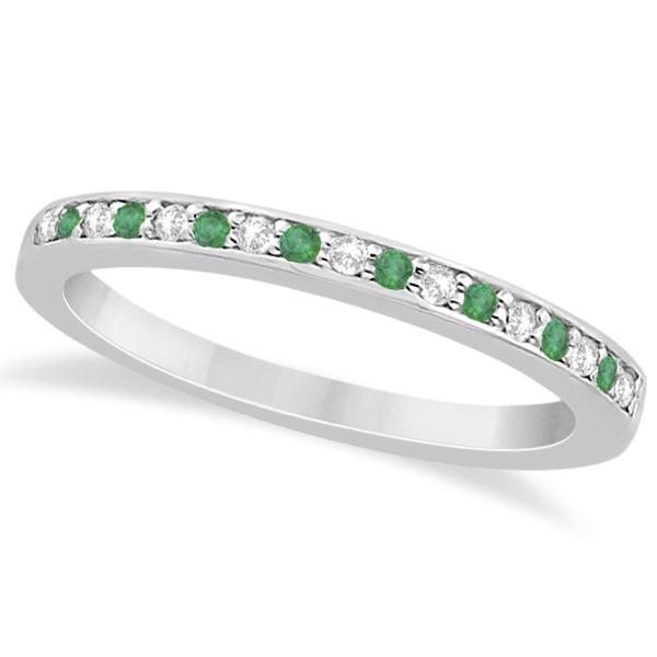 Semi-Eternity Emerald & Diamond Wedding Band 18k White Gold (0.25ct)