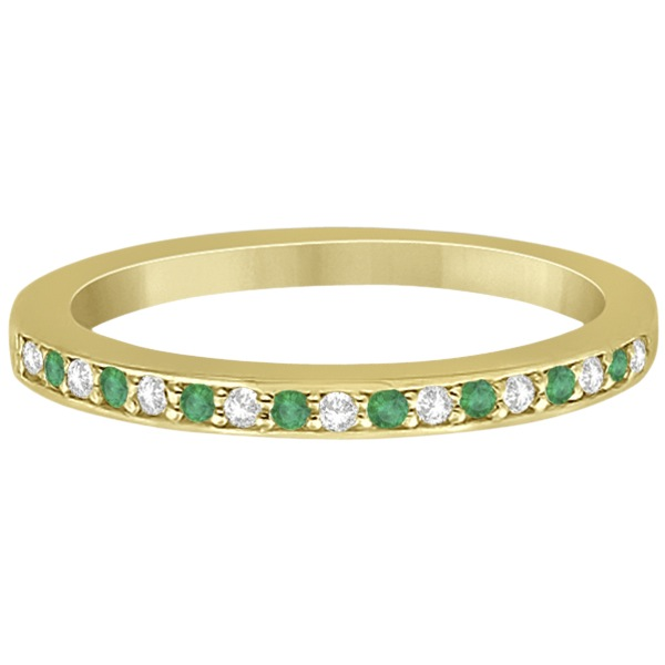 Semi-Eternity Emerald & Diamond Wedding Band 18k Yellow Gold (0.25ct)