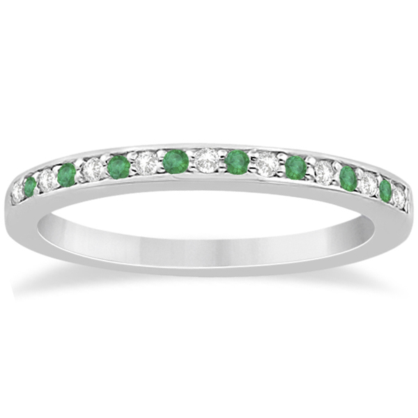 Semi-Eternity Emerald & Diamond Wedding Band Palladium (0.25ct)