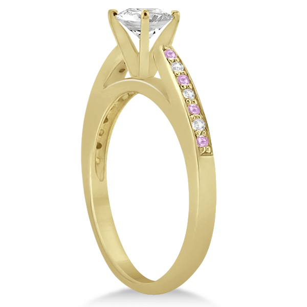 Cathedral Pink Sapphire Diamond Engagement Ring 14k Yellow Gold (0.26ct)