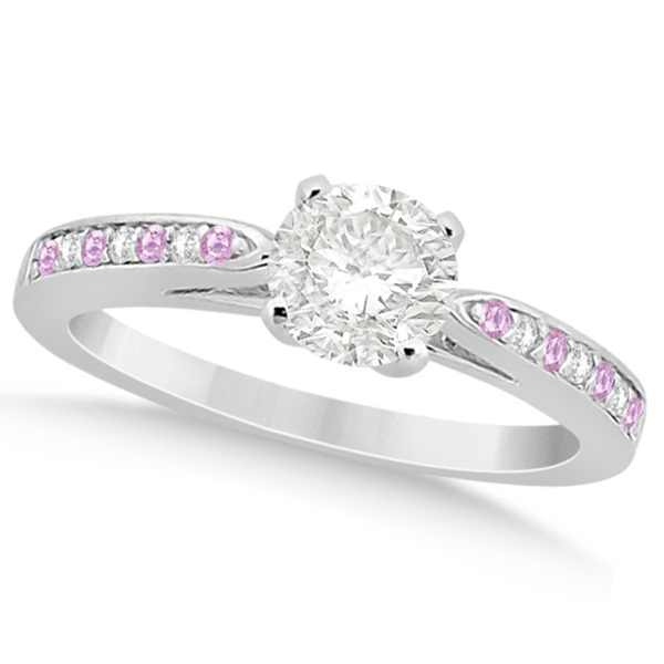 Cathedral Pink Sapphire Diamond Engagement Ring Platinum (0.26ct)