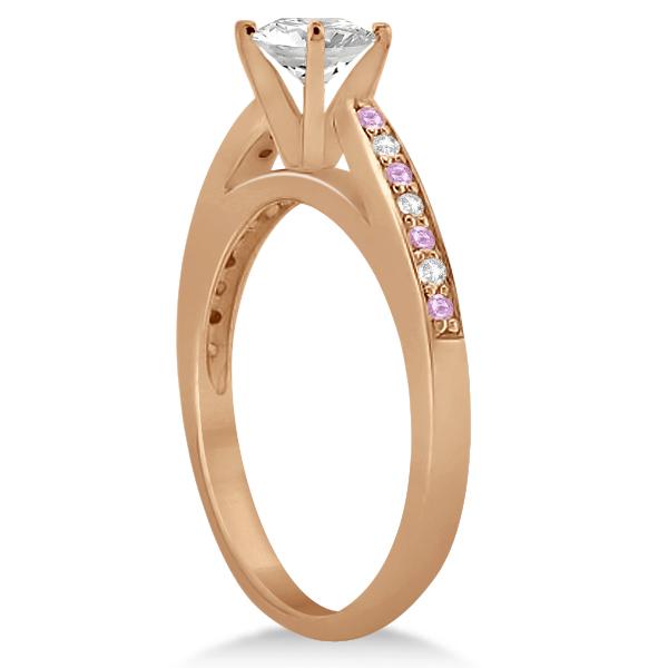 Pink Sapphire & Diamond Engagement Ring Set 14k Rose Gold (0.55ct)