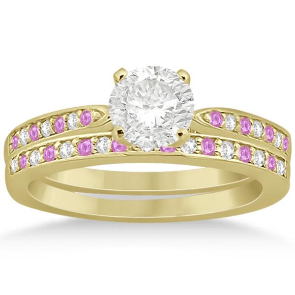 Pink Sapphire & Diamond Engagement Ring Set 14k Yellow Gold (0.55ct)