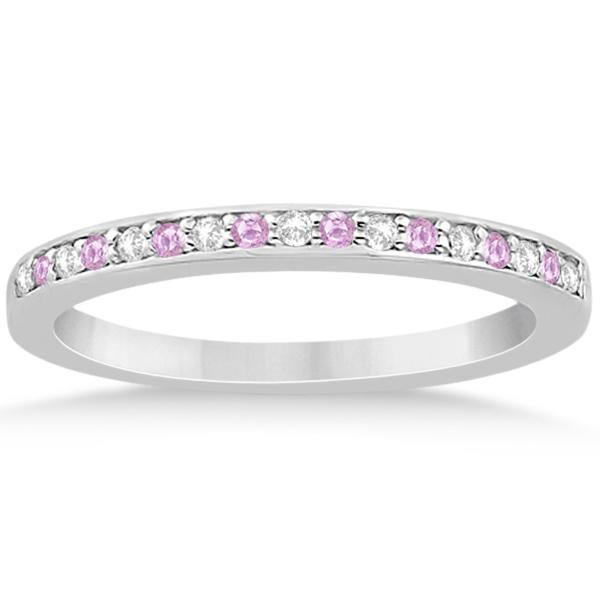 Pink Sapphire & Diamond Engagement Ring Set Palladium (0.55ct)