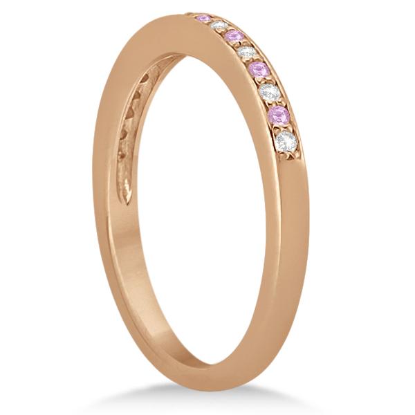 Pave-Set Pink Sapphire & Diamond Wedding Band 14k Rose Gold (0.29ct)