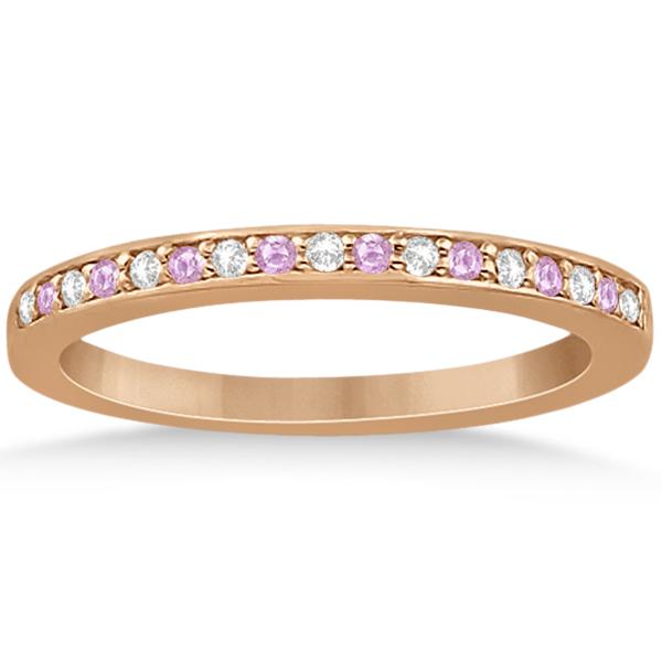 Pave-Set Pink Sapphire & Diamond Wedding Band 18k Rose Gold (0.29ct)