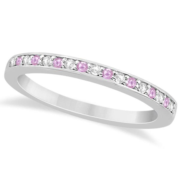 pave set pink sapphire diamond wedding band 18k white gold - Pink Diamond Wedding Ring