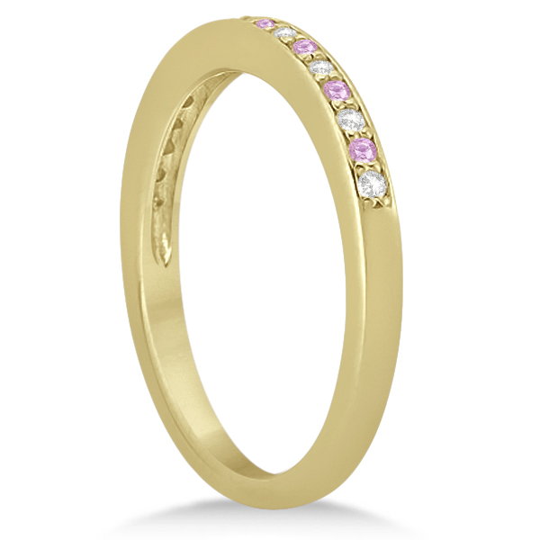 Pave-Set Pink Sapphire & Diamond Wedding Band 18k Yellow Gold (0.29ct)