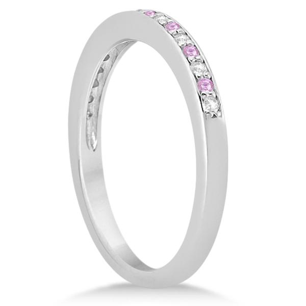 Pave-Set Pink Sapphire & Diamond Wedding Band Platinum (0.29ct)