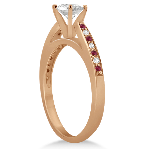 Cathedral Diamond & Ruby Engagement Ring 18k Rose Gold 0.22ct