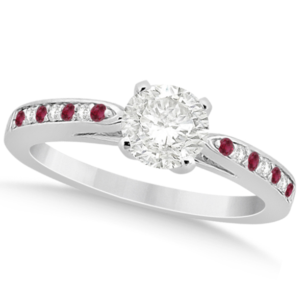 Cathedral Diamond & Ruby Engagement Ring Palladium 0.22ct