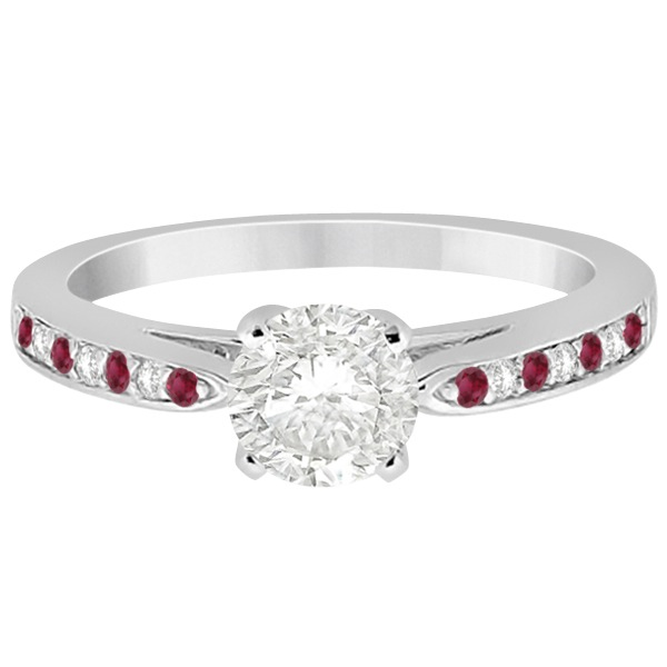 Cathedral Diamond & Ruby Engagement Ring Platinum 0.22ct