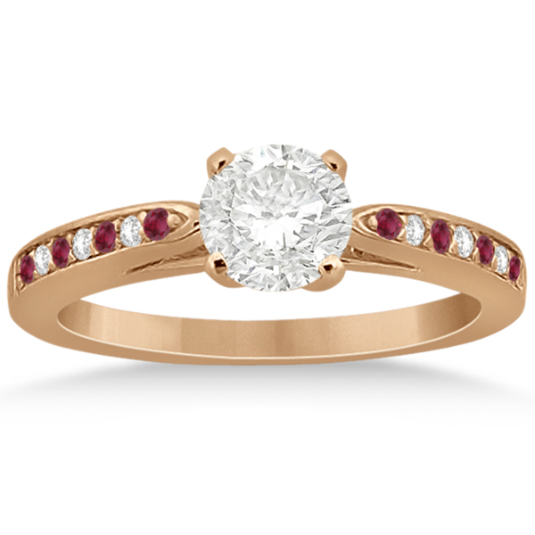 Ruby & Diamond Engagement Ring Bridal Set 14k Rose Gold (0.47ct)
