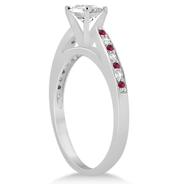 Ruby & Diamond Engagement Ring Bridal Set 14k White Gold (0.47ct)