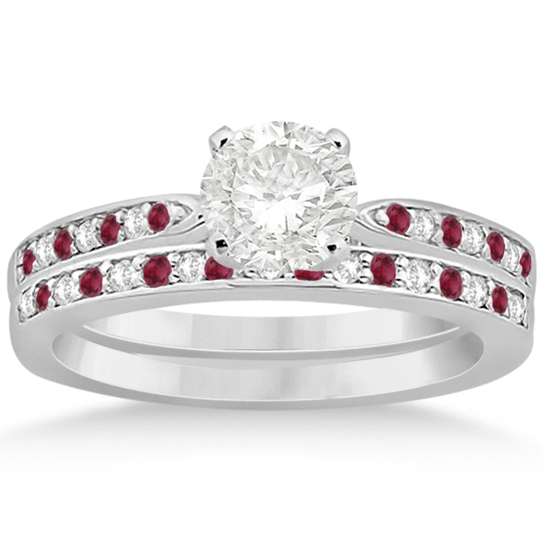 Ruby & Diamond Engagement Ring Bridal Set Platinum (0.47ct)