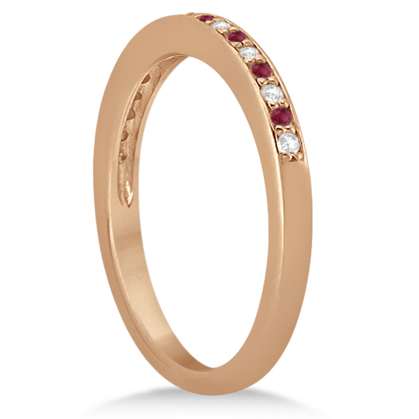 Ruby & Diamond Pave Side Stone Wedding Band 14k Rose Gold (0.25ct)